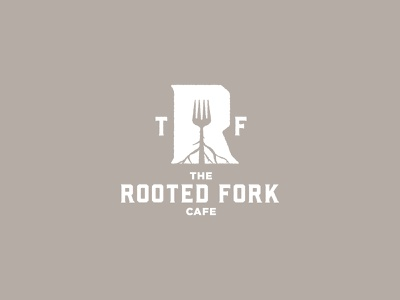 The Rooted Fork Cafe logo logodesign brand identity eat restaurant cafe rooted fork logo branding fork roots