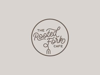 The Rooted Fork Cafe logo concept concept idnetity eatery restaurant logo cafe logo brand branding logo design logo type root fork