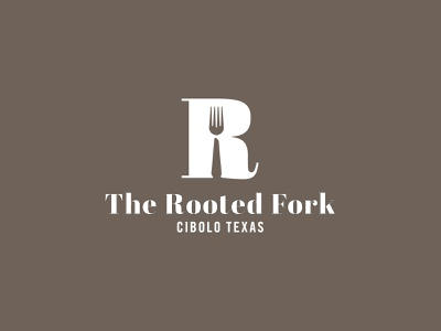 The Rooted Fork Logo eat identity graphic brand logodesign logo branding negative space logo cafe logo restaurant logo negative space r logo fork