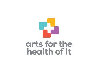 Arts For The Health Of It logo 2 logo design art vector identity concept branding design logo podcast health cross