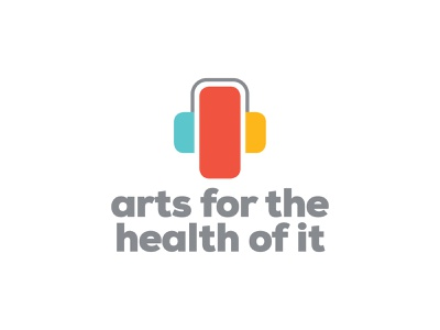Approved logo for Arts for the Health of it non-profit creative healing art listen headphones podcast heart identity brand concept icon branding design logo