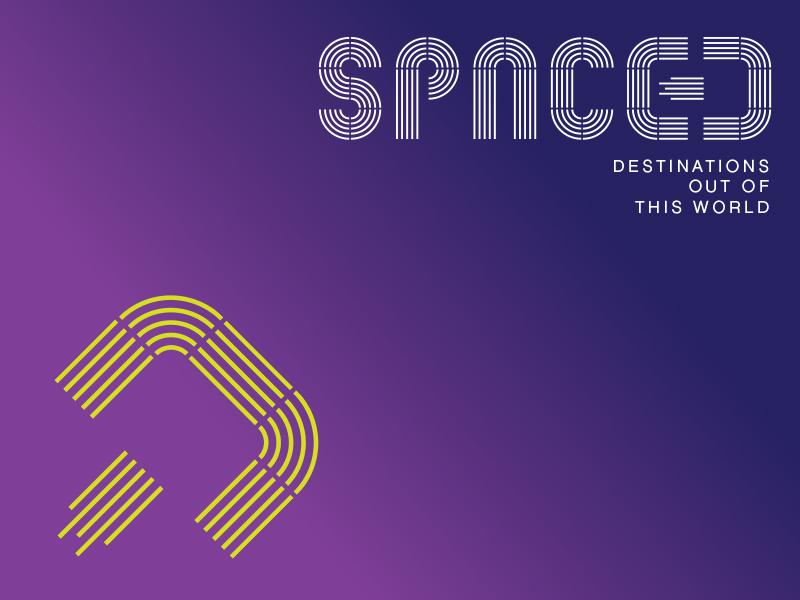 SPACED logo concept 3 design logotype custom type zoom rocket
