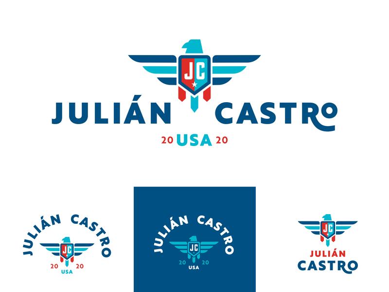 Julián Castro logo concept 1 bird icon political badge 2020 hispanic usa eagle castro president logo