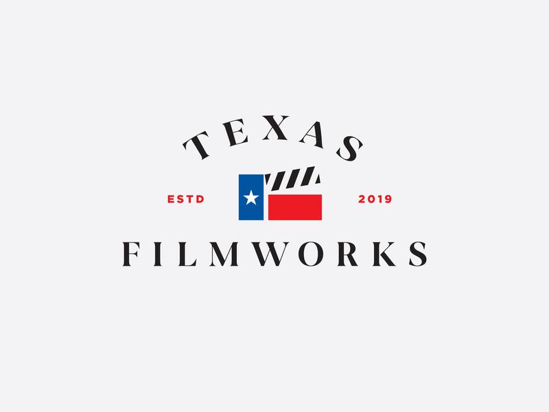 Texas Filmworks logo concept badge flag design camera logo movie video film camera film texas