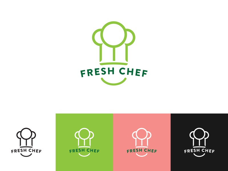 Fresh Chef logo Concept plant brand icon smile cook design logo chef hat veggies trees fresh chef
