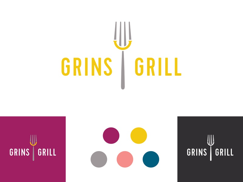 Grins Grill logo concept eat vector branding and identity branding form design restaurant grill grin smile logo fork