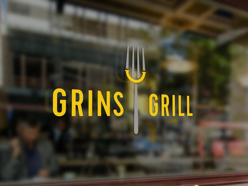 Grins Grill logo mockup icon food window eat happy grin branding restaurant branding restaurant smile fork mockup logo