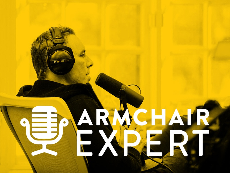 Armchair Expert logo concept horizontal identity design microphone podcast armchair chair concept identity graphic design branding icon logo