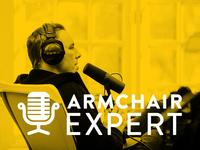 Armchair Expert logo concept horizontal
