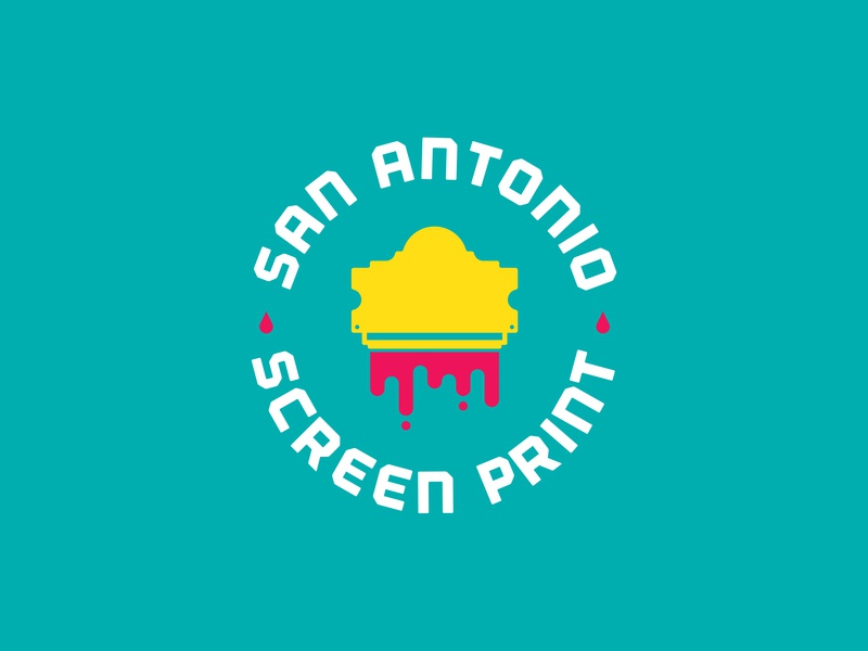 San Antonio Screen Print logo Concept printing texas identity icon screenprinting design branding ink alamo san antonio logo print