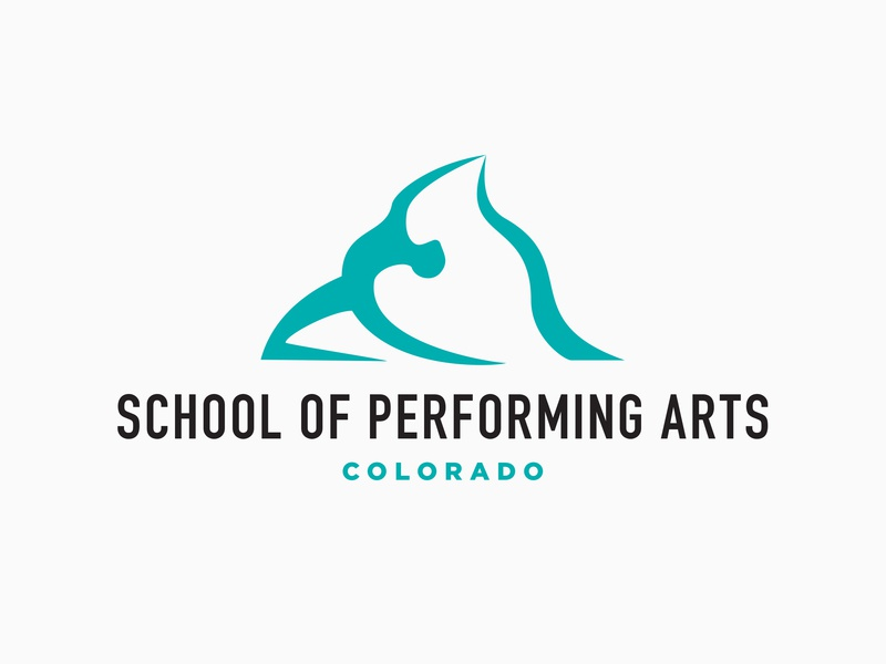 School of Performing Arts logo simple minimal timeless logo mark logo design negativespace mountain trademark ribbon dancer mountains clever identity graphic brand concept branding design icon logo