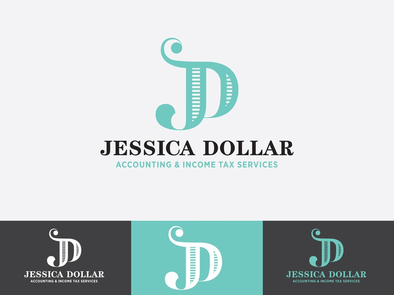 Jessica Dollar Logo 1 monogram dollar money accounting tax branding concept logo design branding logodesign logo jd d j