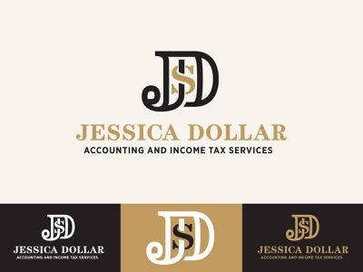 Jessica Dollar Logo 2 gold print taxes accounting $ jd d j money monogram identity graphic brand concept branding icon design logo