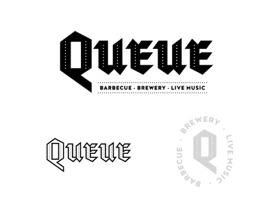 Queue BBQ logo Unused food blackletter typography bbq texas identity graphic type brand concept branding icon design logo