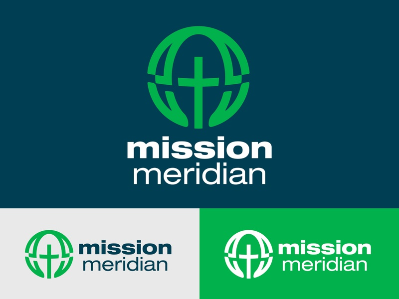 Mission Meridian Logo clever graphic design hands and feet faith globe branding identity print brand logo christian christ meridian mission hands cross world