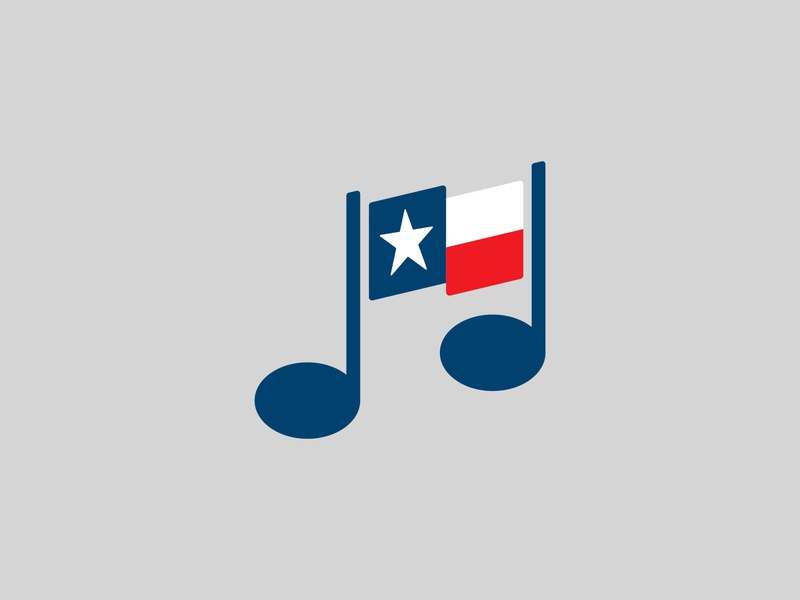 Texas Music identity logo illustration vector graphic mark song note icon flatdesign flag music texas