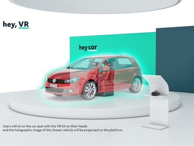 heycar booth design AR/VR Holographic imagery concept 3d art 3d holographic automobile automotive booth design vr art