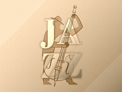 Jazz Festival Poster Illustration and Typography player instrument music double bass festival jazz graphic design poster typography illustration