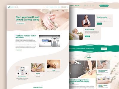 Ausline Clinic Web Design revitalise scizer beauty health facial massage body contouring ausline clinic ux ui website web design