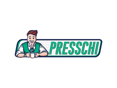 Presschi Online Magazine Logo Design green illustrator graphic design typography fountain pen character design press magazine design logo