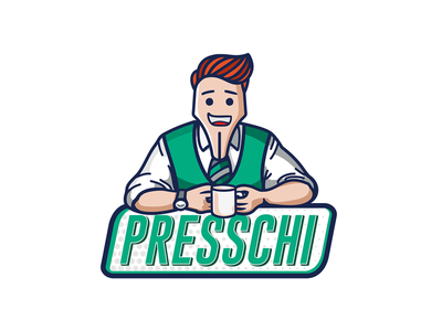 Presschi Online Magazine Logo Design green illustrator graphic design typography fountain pen character design press magazine design logo