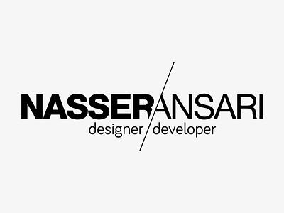 Nasser Ansari Designer/Developer Logo slashed slash a n na helvetica gray black typography developer designer logo