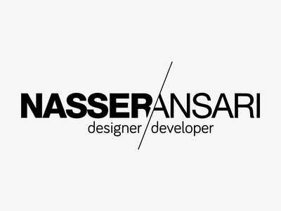 Nasser Ansari Designer/Developer Logo slashed slash a n na helvetica gray black typography developer designer logo
