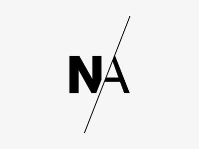 NA Initials Monogram Lettermark logo designer lettermark typography black gray helvetica na n a slash monogram