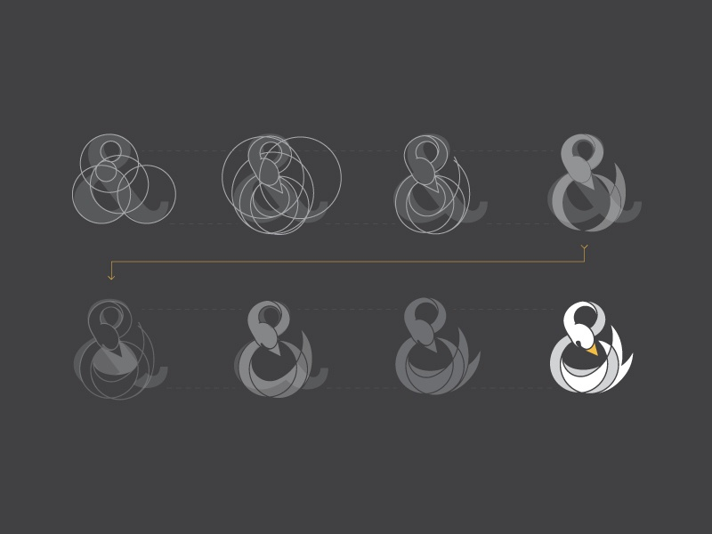 Swan Ampersand Process flat process typography loop logotype logo identity hand lettering branding black and white ampersand