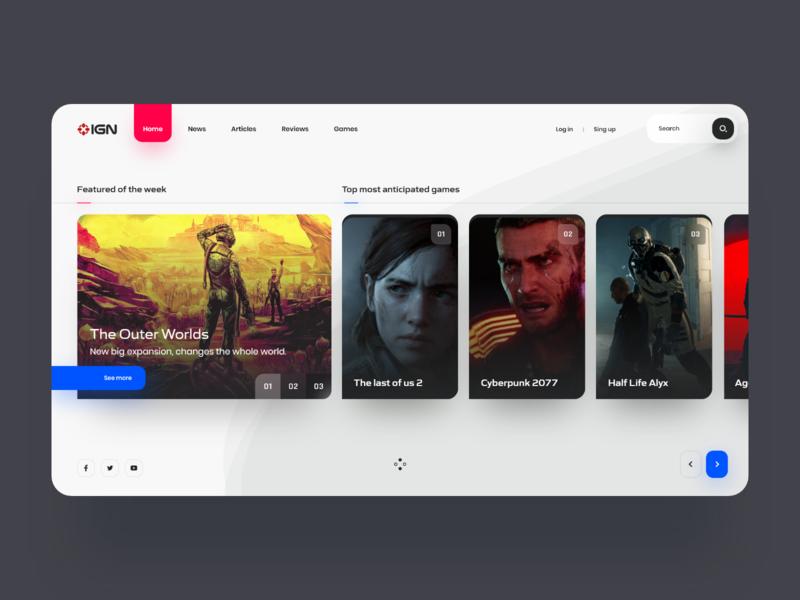 IGN Desktop Design - Home 🎮 orizon fullscreen games design videogames interfaces desktop webdesign interface landing web design clean minimal ux ui