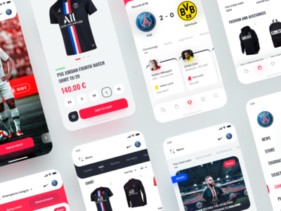 PSG App Redesign 📲⚽ user interface uidesign orizon mobile ui shop store neymar minimal ux ui clean soccer application apple app psg