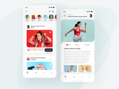 Fitness Social App 📲 ui ux design mobile application social app profile feed vuejs vue vuesax ios app design clean minimal ux ui