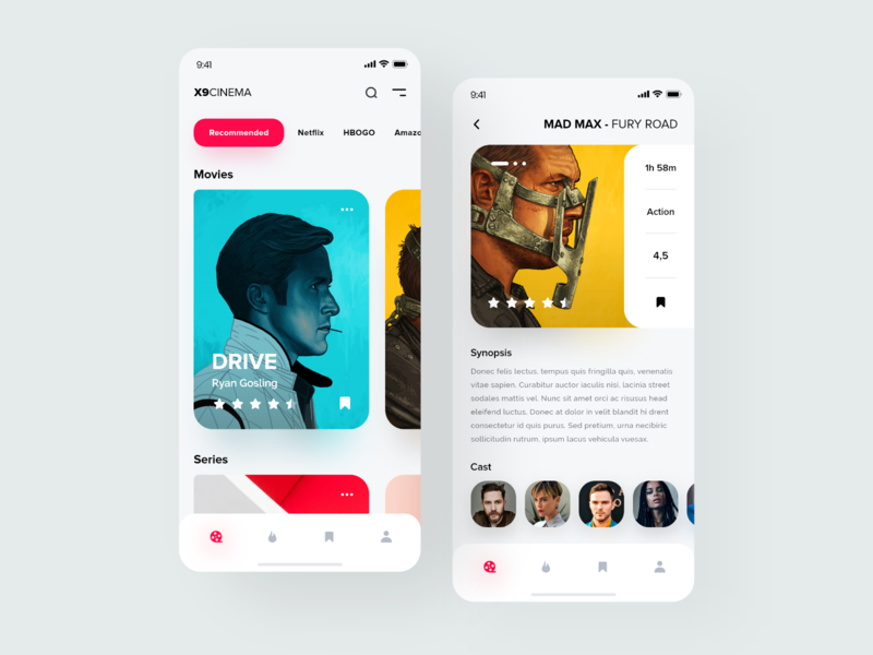 X9CINEMA Application 🎬📲 ios apps uxdesigns uidesigns design movies app orizon clean minimal ux ui vue vuesax application apple app cinema