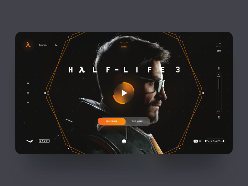 Half Life 3 Web Concept Design 🦯🎮 dark ui valve steam ui games game design half life desktop website webdesign interface landing web design minimal ux ui