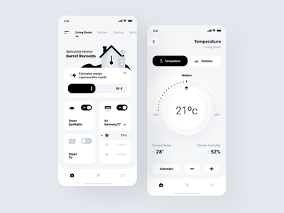 Smart Home App Design manuel rovira ui trends ui ux design orizon ios design smarthome interface clean minimal ux ui app design monochrome ui design application app