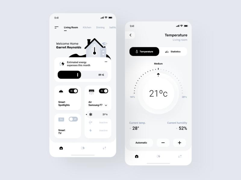 Smart Home App Design manuel rovira ui trends ui ux design orizon ios design smarthome interface clean minimal ux ui app design monochrome ui design application app