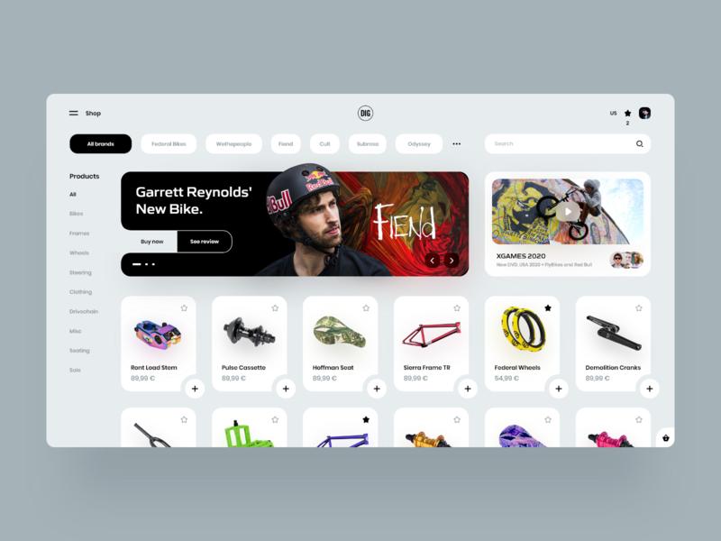 DIG BMX Shop Redesign 🚴♂️ adobe xd marketplace bmx shopping store app store desktop webdesign landing web interface design clean minimal ux ui