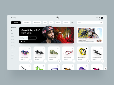 DIG BMX Shop Redesign 🚴‍♂️ adobe xd marketplace bmx shopping store app store desktop webdesign landing web interface design clean minimal ux ui