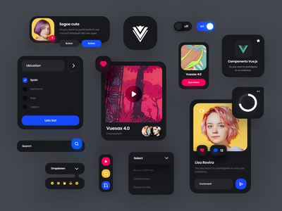 Vuesax 4.0 Components Dark Theme 🖤📲 vuejs dark theme uikit components vuesax vue.js vue framework web interface design clean minimal ux ui