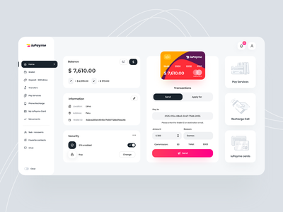 Wallet iuPayme Desktop 💳 vuejs dashboard web design business card user interface vue interface application finance app wallet app finance e-finance credit card banking wallet