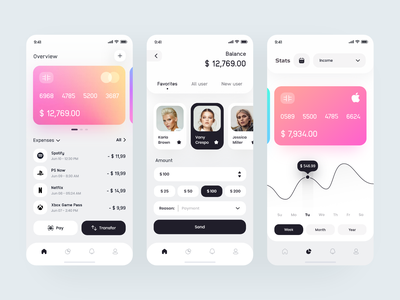 Wallet Design App 💎 transaction stats payment mobile banking ios app finance crypto credit card clean app banking wallet bank gradient application app interface clean minimal ux ui