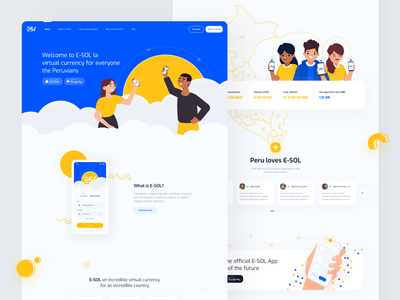 Landing Wallet E SOL crypto website money header exchange landing wallet website vector illustration webdesign web interface ux ui minimal landing page landing