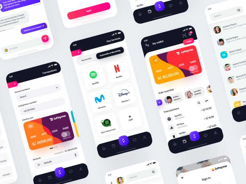 iuPayme Wallet App 💳 money banking app app clean app vuejs vuesax credit card ios app design wallet ios interface design clean minimal ux ui