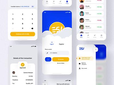 Send Money Application E-SOL 🟡🔵 bank app vuejs uikit ios app register log in send money blue app wellow app exchange wallet application app interface design clean minimal ux ui