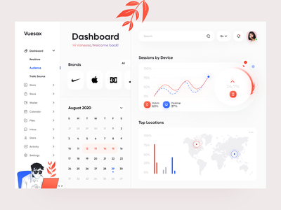 Vuesax Dashboard components uiux ui design user interface calendar vue vuejs framework github dashboard adobe xd desktop illustration interface design clean minimal ux
