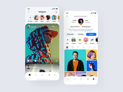 Instagram Redesign 2020 concept design uiuxdesign uiux ui trend icons card design adobexd adobe xd social app feed instagram redesign instagram application app interface design clean minimal ux ui
