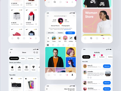 Store Instagram Redesign 2020 📲 icons category app instagram redesign redesigned feed animation interaction adobe photoshop store application app adobe xd design interface clean minimal ux ui adobexd