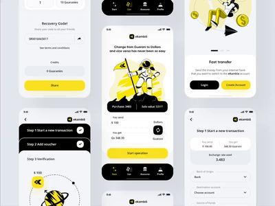 eKambia Application 📲 currency coins prototype banking bank app yellow app motion exchange payment pay wallet uiux app application interface design clean minimal ux ui
