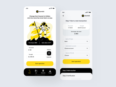 eKambia App aplicacion banking app yellow app exchange app design ui trend github ui ux design wallet bank yellow illustration application app interface design clean minimal ux ui