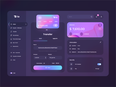 Wallet iuPayme Desktop Dark mode 💳 app ui gradient wallet banking app exchange credit card finance wallet app finance app application interface dashboard desktop webdesign admin vuesax vuejs vue